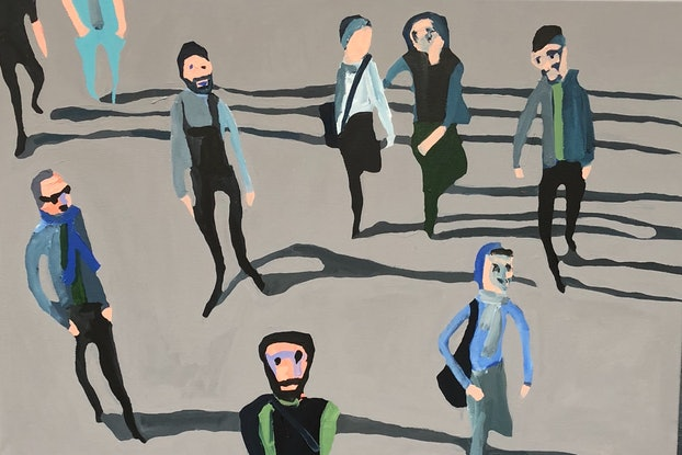 (CreativeWork) Smith Street, Tuesday by Sharon Monagle. Acrylic Paint. Shop online at Bluethumb.