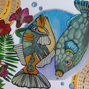 (CreativeWork) Double trouble  by Annarine Chapman MAHINA ARTS. watercolour. Shop online at Bluethumb.