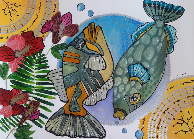 (CreativeWork) Double trouble  by Annarine Chapman MAHINA ARTS. Watercolour Paint. Shop online at Bluethumb.