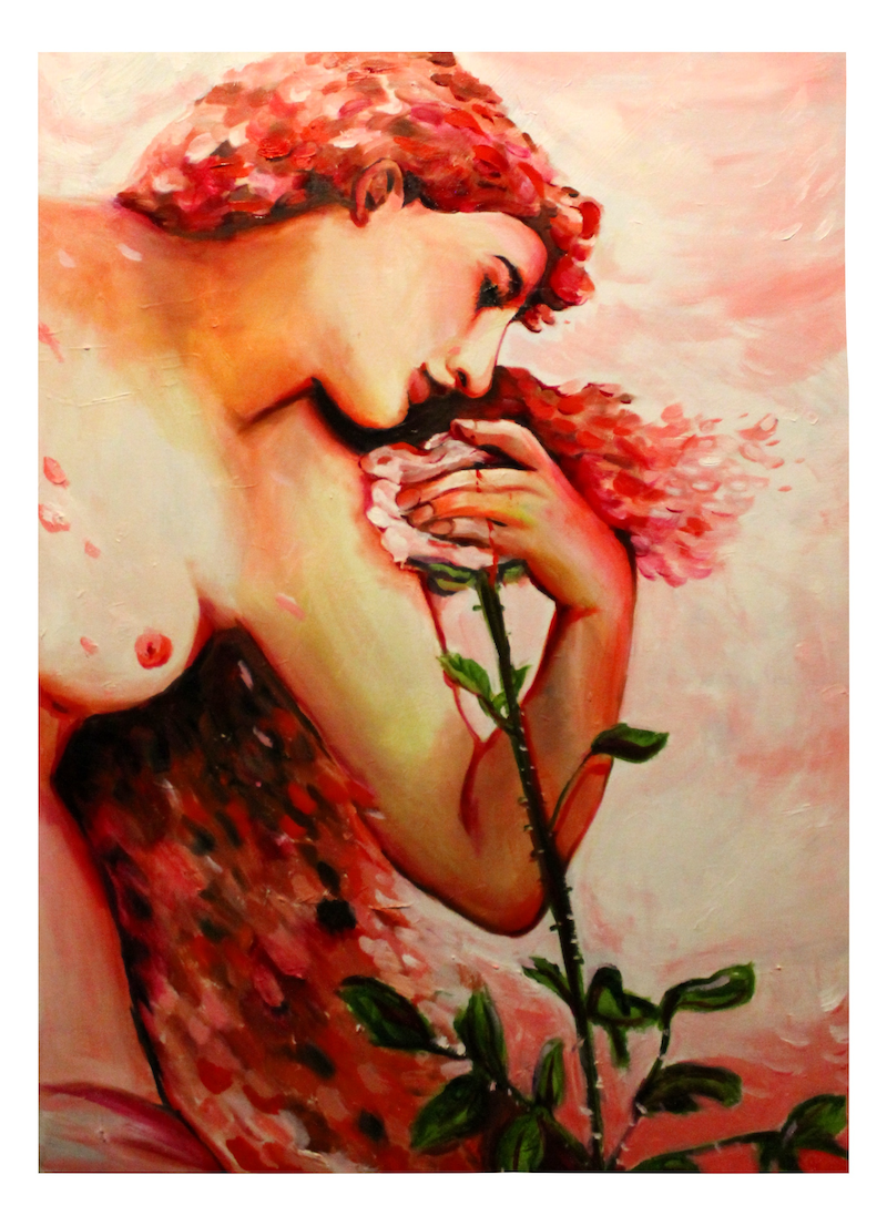 (CreativeWork) Roses are Red  by Rebecca Read. oil-painting. Shop online at Bluethumb.