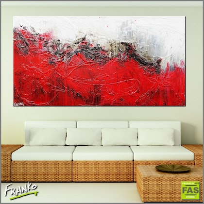 Little Red Devil 190cm x 100cm  Huge abstract textured red white