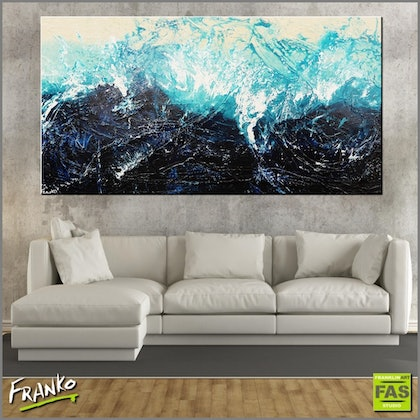 Oceans Jazz 190cm x 100cm  Huge abstract textured blue