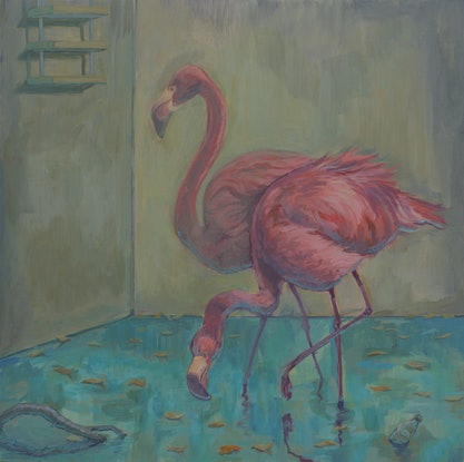 (CreativeWork) Flamingos in Swimming Pool  by Luke RION. Acrylic Paint. Shop online at Bluethumb.