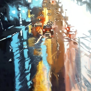 (CreativeWork) BrightNight by Karen Bloomfield. oil-painting. Shop online at Bluethumb.