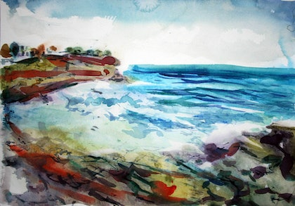 (CreativeWork) Tamarama by tomas maceiras. watercolour. Shop online at Bluethumb.