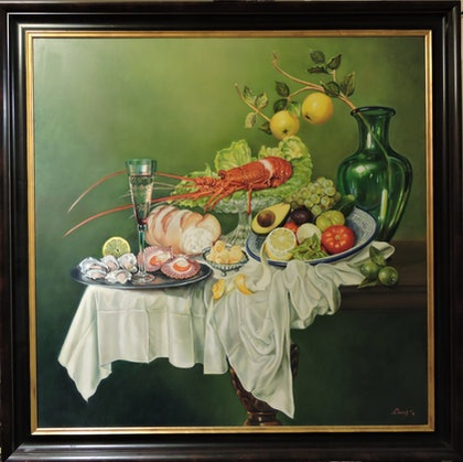 (CreativeWork) Lunch with Crayfish by Rob Davis. oil-painting. Shop online at Bluethumb.