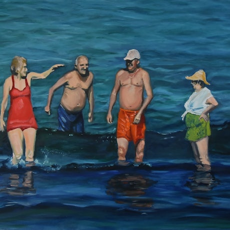 (CreativeWork) Bathing Buddies by Julie Hobbs. Oil Paint. Shop online at Bluethumb.