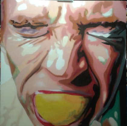 (CreativeWork) Sour by Marcus Vernon. oil-painting. Shop online at Bluethumb.