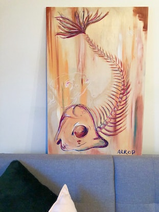 (CreativeWork) Big Fish by Anthony Arrop. Acrylic Paint. Shop online at Bluethumb.