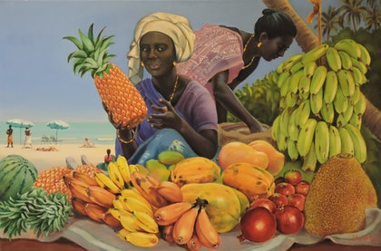 (CreativeWork) Fruit Ladies of Kovalam by Rob Davis. oil-painting. Shop online at Bluethumb.