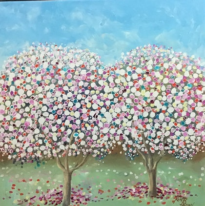 (CreativeWork) Blossoms in spring by Ron Brown. arcylic-painting. Shop online at Bluethumb.