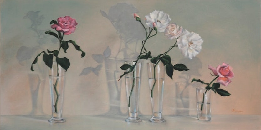 (CreativeWork) Roses in a Row by Fiona Buchanan. Oil Paint. Shop online at Bluethumb.