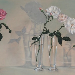 (CreativeWork) Roses in a Row by Fiona Buchanan. oil-painting. Shop online at Bluethumb.