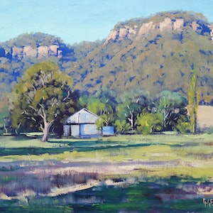 (CreativeWork) Hartley Bluffs by Graham Gercken. oil-painting. Shop online at Bluethumb.