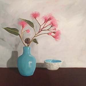 (CreativeWork) Turquoise vase and pink flowering gum by Sandra Jenkins. oil-painting. Shop online at Bluethumb.