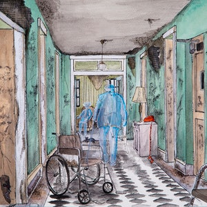 (CreativeWork) Abandoned Hospice Ghosts by Chelle Destefano. watercolour. Shop online at Bluethumb.