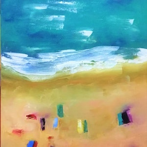 (CreativeWork) beach time by angela mulligan. oil-painting. Shop online at Bluethumb.
