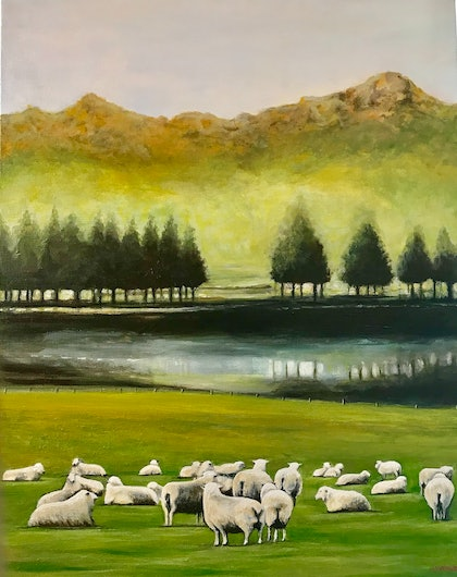 (CreativeWork) SHEEP IN A  MEADOW by LOUISE GROVE WIECHERS. arcylic-painting. Shop online at Bluethumb.