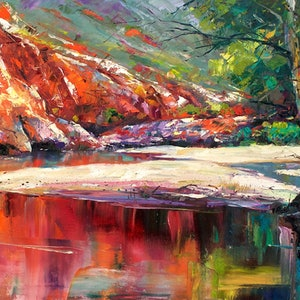 (CreativeWork) Ormiston Gorge  by Jos Coufreur. oil-painting. Shop online at Bluethumb.
