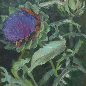 (CreativeWork) Artichoke Flowers Study by Roland Weight. oil-painting. Shop online at Bluethumb.