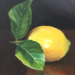 (CreativeWork) Lemon by Hayley Kruger. arcylic-painting. Shop online at Bluethumb.