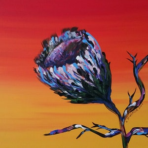 (CreativeWork) Outback Protea by Karen McKenzie. arcylic-painting. Shop online at Bluethumb.
