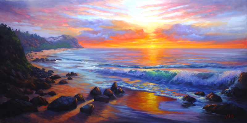(CreativeWork) Sunrise at Forresters Beach commissioned  by Christopher Vidal. oil-painting. Shop online at Bluethumb.