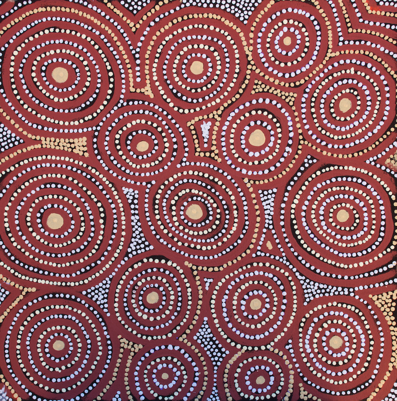 (CreativeWork) Kunangurra Rockhole and Seven Sisters Dreaming 206-18 by Martha Ward. arcylic-painting. Shop online at Bluethumb.