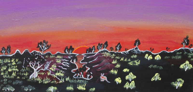 (CreativeWork) Landscape with kangaroo by Rocky William Porter. arcylic-painting. Shop online at Bluethumb.