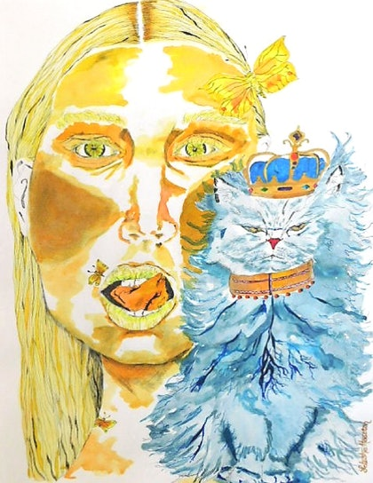 (CreativeWork) The Cat that Got the Cream I by Latesha Houston. drawing. Shop online at Bluethumb.