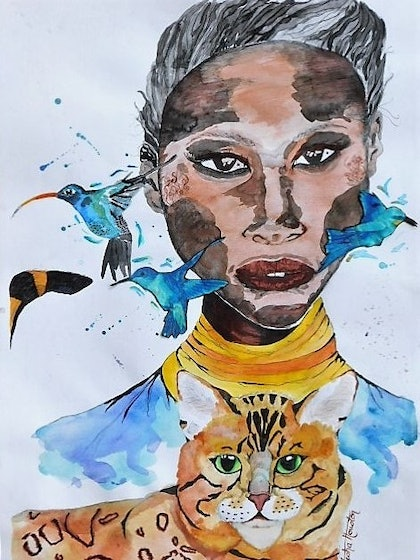 (CreativeWork) The Cat that Got the Cream II by Latesha Houston. drawing. Shop online at Bluethumb.