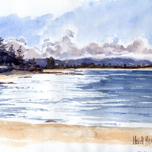 (CreativeWork) Glittering Fishermans Beach by Heidi Hereth. watercolour. Shop online at Bluethumb.