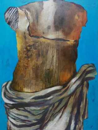 (CreativeWork) Torso In Blue by Elizabeth Wojciak. Oil Paint. Shop online at Bluethumb.