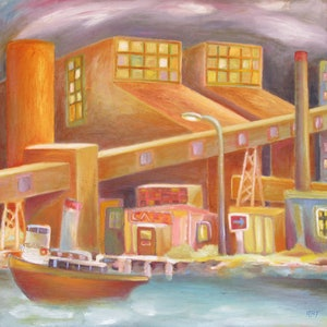 (CreativeWork) River Cafe by Rory Brockman-Tanham. oil-painting. Shop online at Bluethumb.