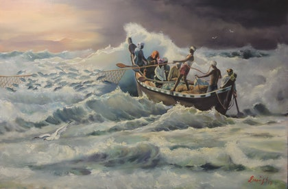 (CreativeWork) The Day the Fish Came In by Rob Davis. oil-painting. Shop online at Bluethumb.
