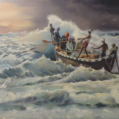 (CreativeWork) The Day the Fish Came In by Rob Davis. Oil Paint. Shop online at Bluethumb.