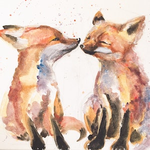 (CreativeWork) Kiss me by Duillia Xu. watercolour. Shop online at Bluethumb.