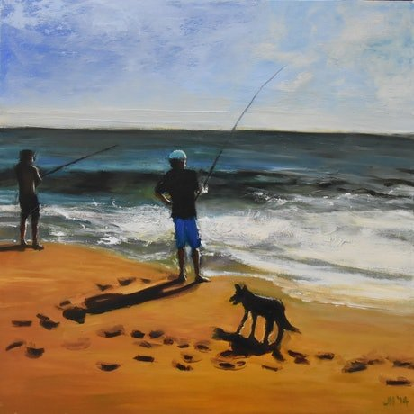 (CreativeWork) Catching a dog by Julie Hobbs. Oil Paint. Shop online at Bluethumb.