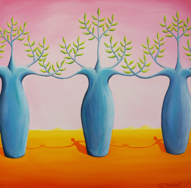 (CreativeWork) Connected Souls by Sarah Jane Marchant. Oil Paint. Shop online at Bluethumb.