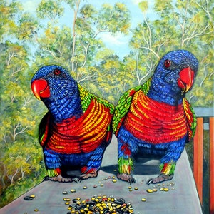 (CreativeWork) Dinner Date - Rainbow Lorikeets by Linda Callaghan. arcylic-painting. Shop online at Bluethumb.