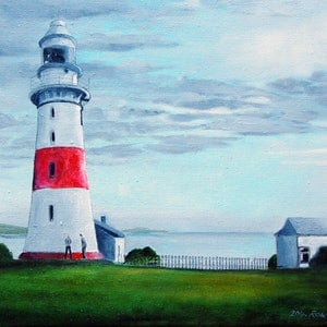 (CreativeWork) Witness to a Lighthouse with two Figures.  Ed. 1 of 200 by Colin Rowe. print. Shop online at Bluethumb.