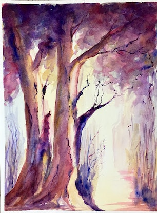 (CreativeWork) Light at the end of nature by Elizabeth Vita. Watercolour Paint. Shop online at Bluethumb.