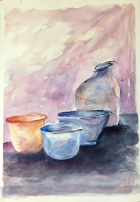 (CreativeWork) Shapes on my kitchen bench by Elizabeth Vita. Watercolour Paint. Shop online at Bluethumb.