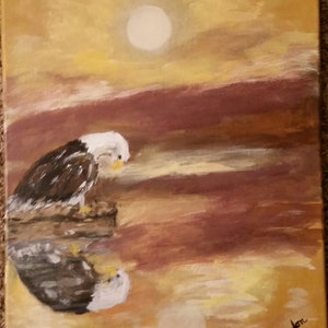 (CreativeWork) Eagle's reflection  by Sue Nadon. arcylic-painting. Shop online at Bluethumb.