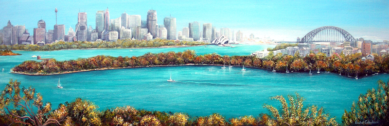 (CreativeWork) Sydney Harbour - Australia by Linda Callaghan. arcylic-painting. Shop online at Bluethumb.