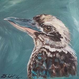 (CreativeWork) Laughing Kookaburra by Liz H LOVELL. oil-painting. Shop online at Bluethumb.
