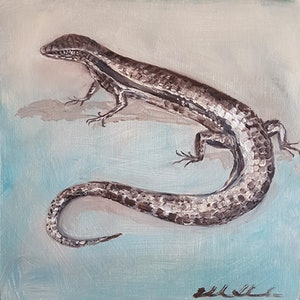 (CreativeWork) Eastern water skink by Liz H LOVELL. oil-painting. Shop online at Bluethumb.