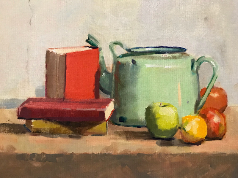 (CreativeWork) Still Life with green tea urn  by Ray Wilson. oil-painting. Shop online at Bluethumb.