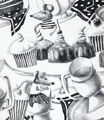 (CreativeWork) Sweet tea party by Yelena Revis. Drawings. Shop online at Bluethumb.