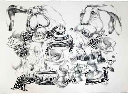 (CreativeWork) Sweet tea party by Yelena Revis. drawing. Shop online at Bluethumb.
